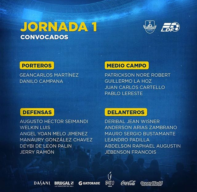 Covocados por Atlántico FC para la primera fecha LDF Apertura