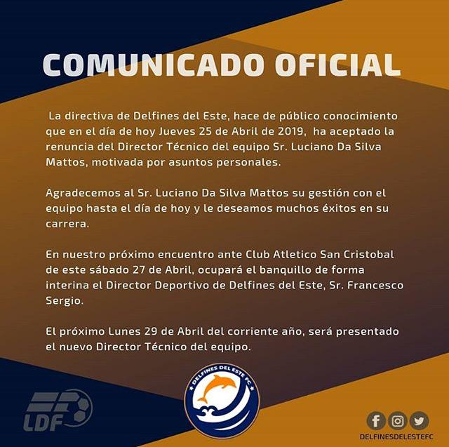 Comunicado oficial de Delfines del Este donde da a conocer la renuncia de su técnico: Luciano Da Silva