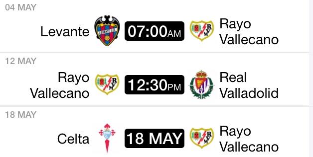 Itinerario del Rayo Vallecano en lo que resta de temporada