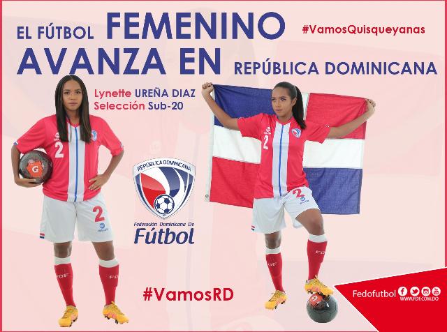 Lynette Ureña en una publicación de la Federación Dominicana de Fútbol