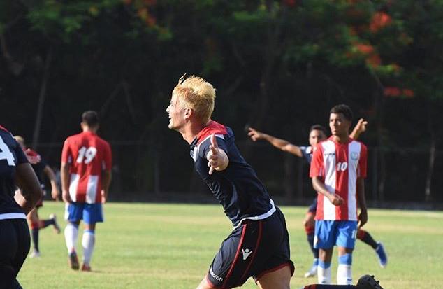 Brian López celebra su gol frente a Puerto Rico