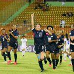Alyssa Oviedo celebra un gol en el partido Dominicana 7-0 Honduras