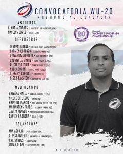 Lista de futbolistas convocadas por el técnico Diego Gutierrez a la selección femenil sub 20 Dominicana para el Campeonato Concacaf 2020