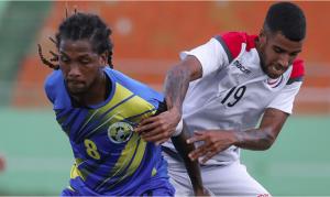 Benji Núñez en acción con la selección dominicana