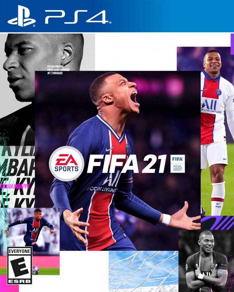 Portada del FIFA 21 en Play Station 4, conteniendo la imagen del futbolista francés, Kylian Mbappé